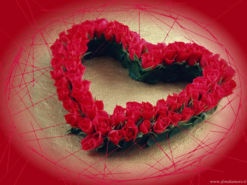Sfondo amore cuore di rose